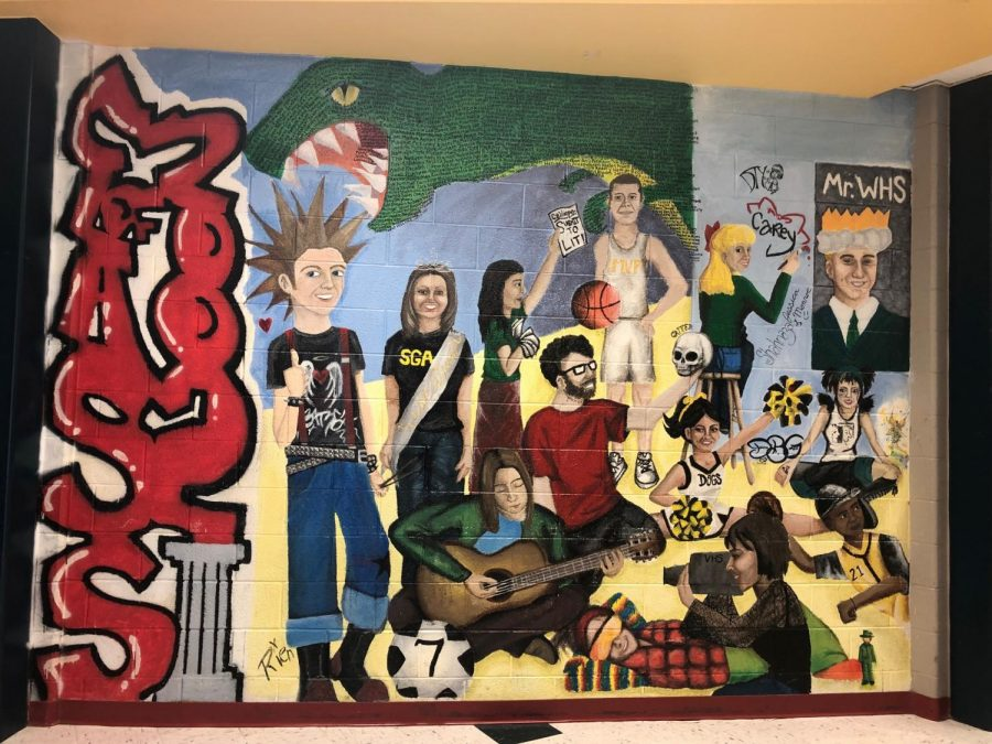 The Mural of the Class of 2002, facing the main office of the building.