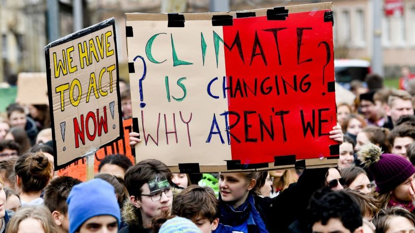 Students in Dresden, Germany taking a stand to raise awareness about climate change.