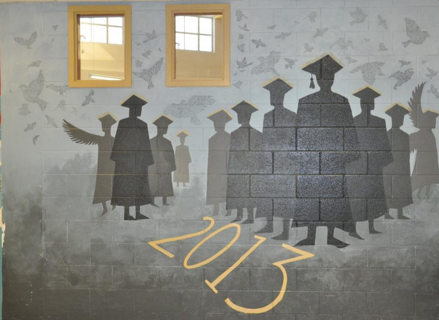 The Class of 2013 mural, displayed on the wall facing the cafeteria.