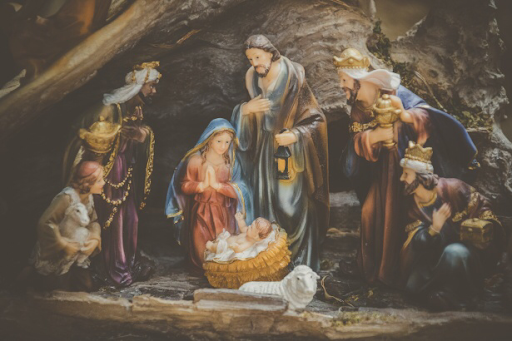 Painting of the birth of Jesus Christ.