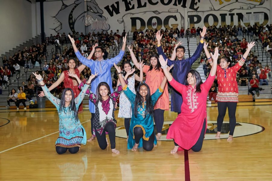 Indian Student Association following their performance at the Pep Rally.