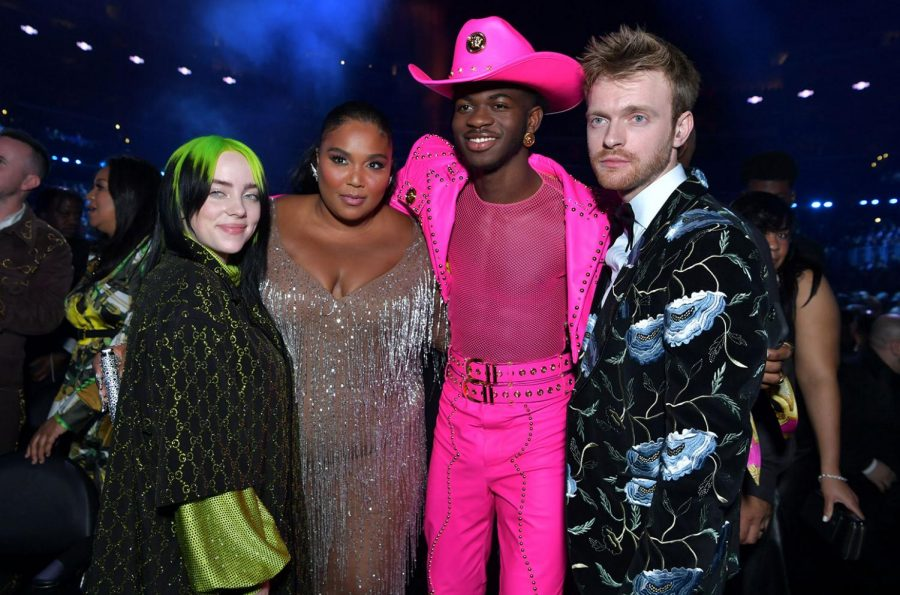Billie Eilish, Lizzo, Lil Nas X, and Finneas O'connel in the audience for a picture.
