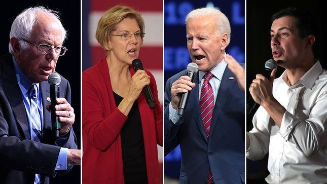 (left to right) Bernie Sanders, Elizabeth Warren, Joe Biden, Pete Buttigieg