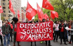 The Democratic Socialists of America rallying in New York City.
