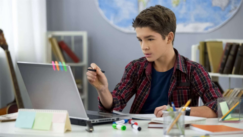 Teenager receiving education through Schoology
