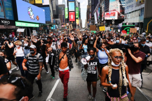 Peaceful protesters marching through Manhattan.