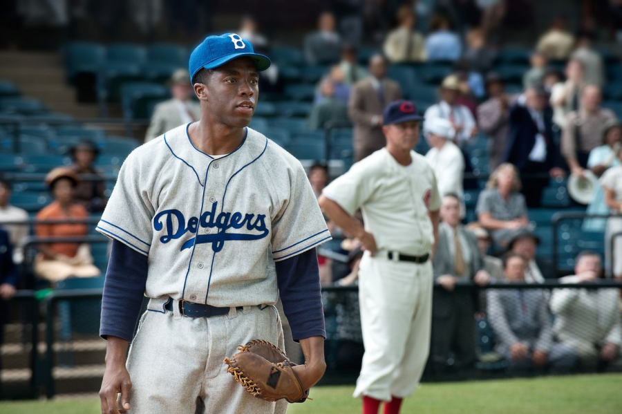 Chadwick Boseman as Jackie Robinson in the film 42.