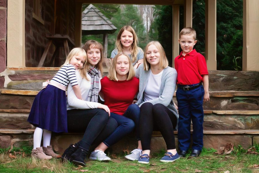 Anne Schaad enjoys a tranquil moment with her five younger siblings.