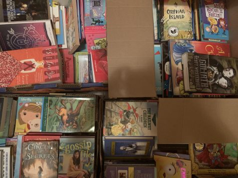 Boxes of books wait to be delivered to Women Giving Back in Sterling. Over 1,000 books were collected.