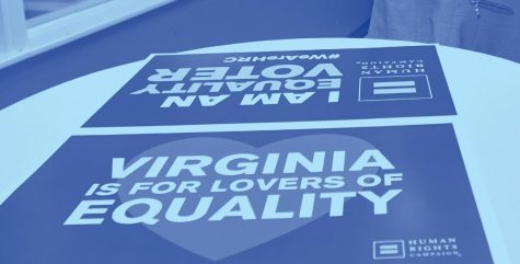 "Two ""Virginia is For Lovers of Equality"" signs in the office at the internship."