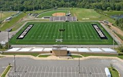 Westfield High School 's football field shown in an aerial view.