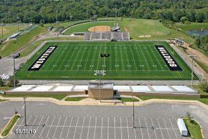 Westfield High School 's football field shown in an aerial view.