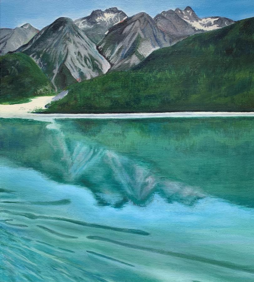 Kolman's acrylic painting of Alaskan scenery