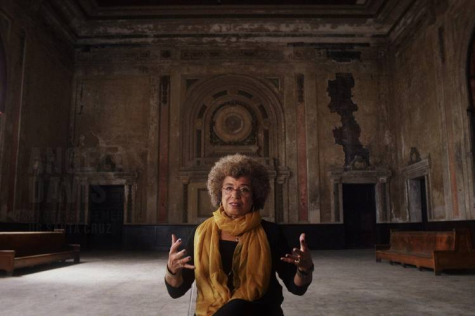 Angela Davis addressing political issues.