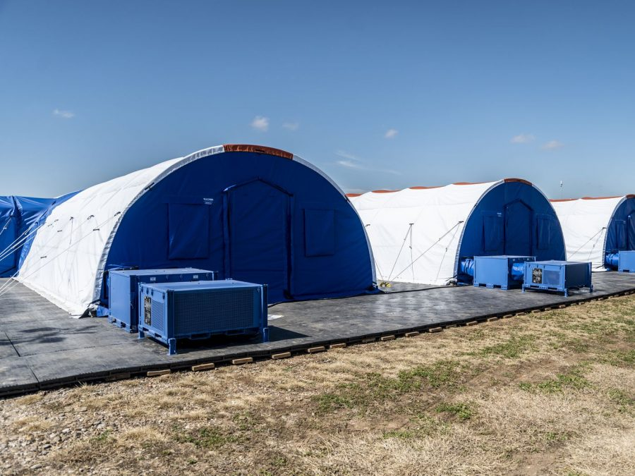 Intensive care tents at a facility for unaccompanied child migrants in Carrizo Springs, Texas